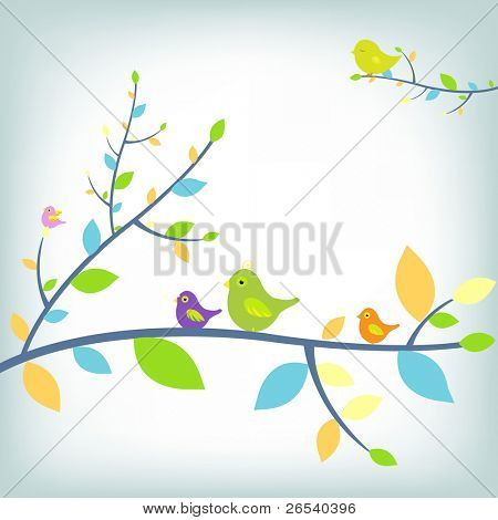Fantastic Birds, Vector Illustration