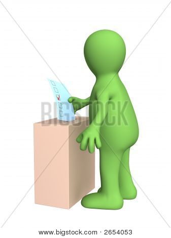 The 3D Stylized Man Voting At Elections