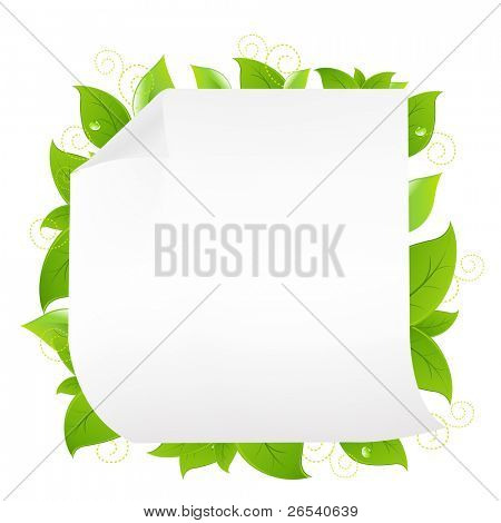 Blank Note Paper With Sprout, Isolated On White Background, Vector Illustration