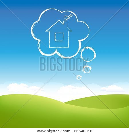 Cloud House In Air Over Grass Field, Vector Illustration