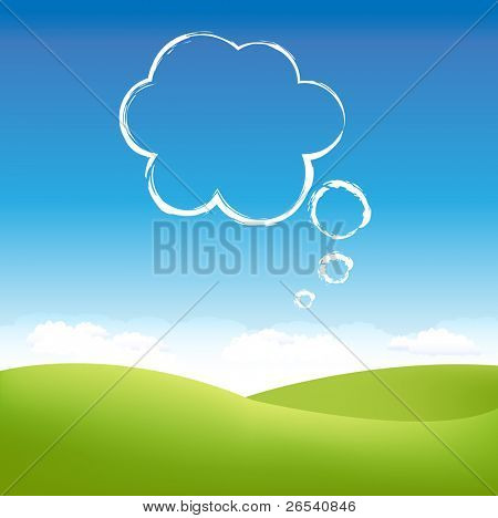 Cloud In Air Over Grass Field, Vector Illustration