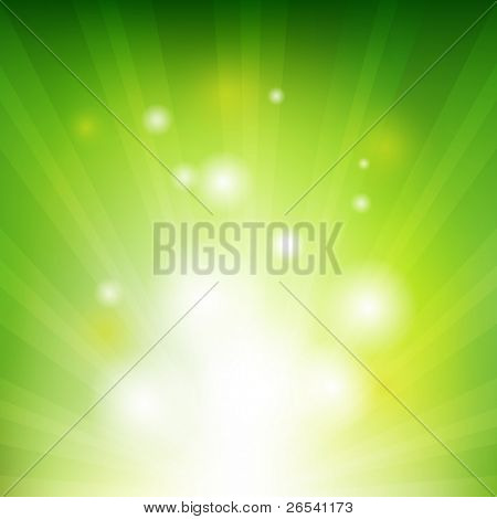Green Background With Beams, Vector Illustration