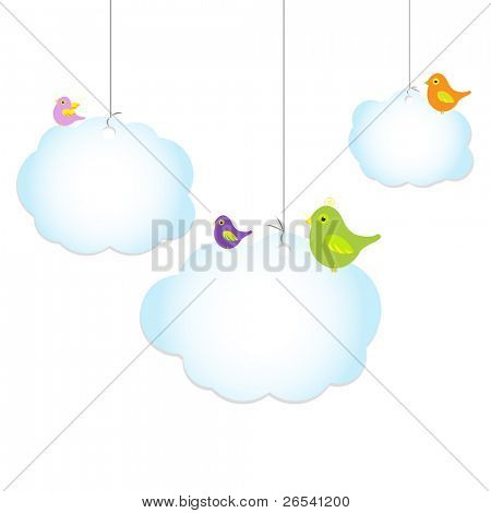 Birds Sitting On clouds, Isolated On White Background