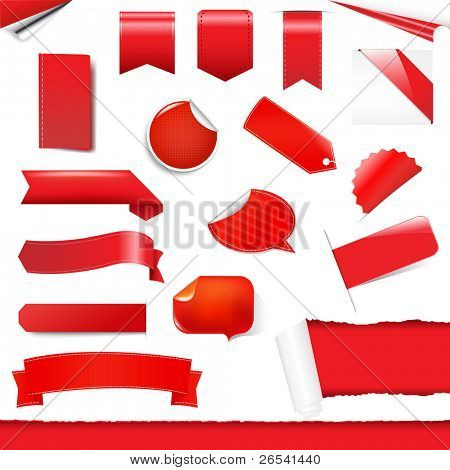 Red Labels And Stickers Set, Isolated On White Background, Vector Illustration