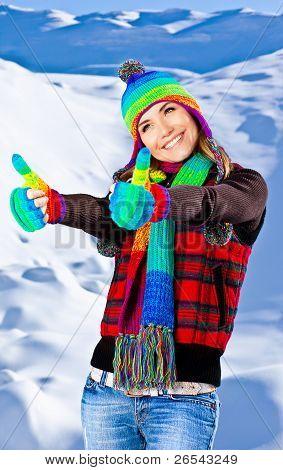 Happy Smiling Girl Portrait, Winter Fun Outdoor