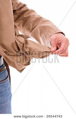 man holding his empty pocket, isolated on white background