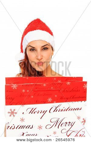 Santa Claus Girl Holding A Shopping Bag