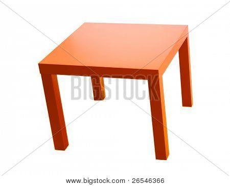 modern orange table isolated on white background