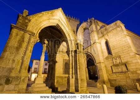 Monument and a ancient church ( Padrao do Salado ) in the center of Guimaraes city. European Capital of Culture 2012