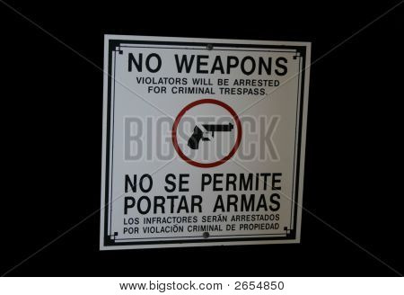 Bilingual No Weapons Sign