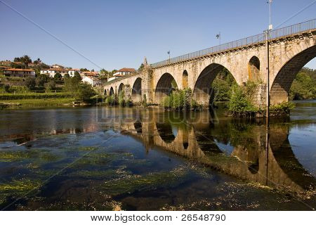 Bridge of Ponte da Barca, ancient portuguese village, on Minho river, north of Portugal