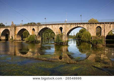 Beautiful Bridge of Ponte da Barca, ancient portuguese village, on Minho river, north of Portugal