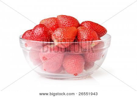 A glass bowl full of fresh strawberries.Isolated on white background with clipping path