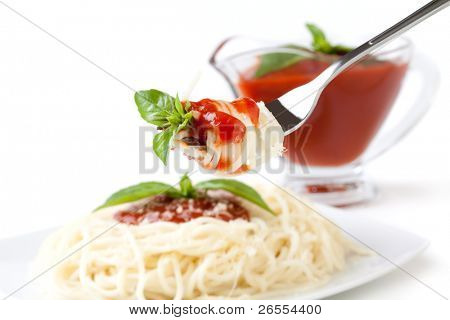 Spaghetti whit tomato sauce on a white backgroundand with soft shadow