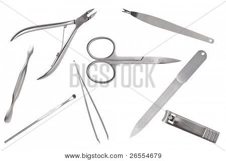 Tools of a manicure set on a white background