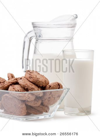 glass of milk and chocolate chip cookies on white background