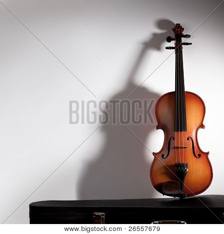 Violin with soft shadow and copy space