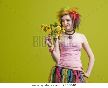 Punk Woman With Plastic Flowers