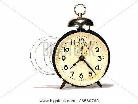 Isolated Ancient Alarm-clock And Mainspring