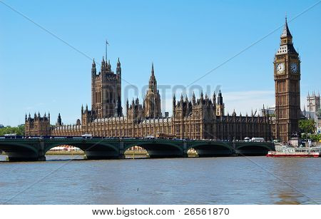 The Big Ben, the Houses of Parliament and Westminster Bridge in a clear day