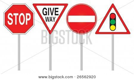 Vector illustration of warning and prohibition traffic signs