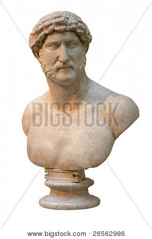 Marble bust of an ancient roman emperor isolated on white