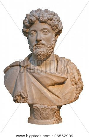 Marble bust of the roman emperor Marcus Aurelius isolated on white