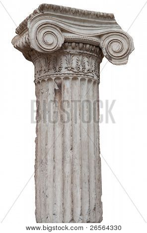 Ancient greek ionic column isolated on white with clipping path