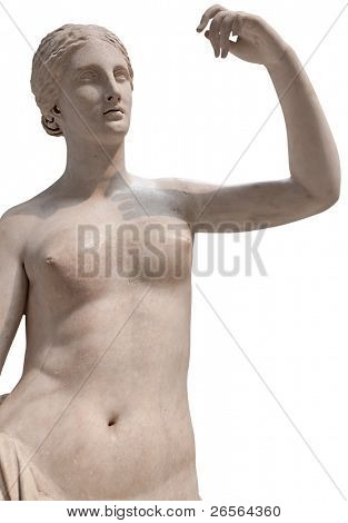 Ancient statue of a nude Venus isolated on white with clipping path