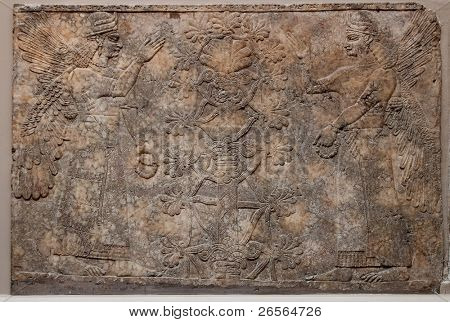 Ancient assyrian relief depicting winged gods or spirits and a tree