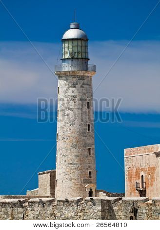 Vertical view othe lighthouse tower in El Morro in Havana, Cuba