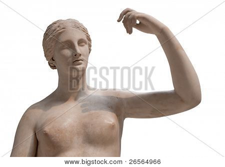 Greek statue of a nude Venus isolated on white