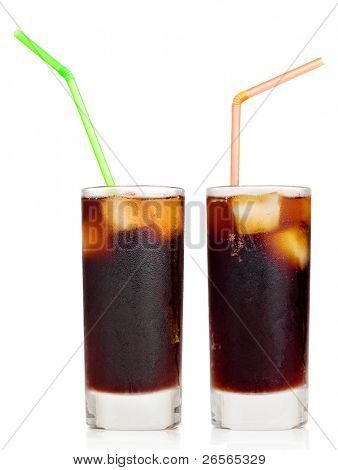 Cola soft drink with ice or Cuba libre with a drinking straw on a white background with reflections