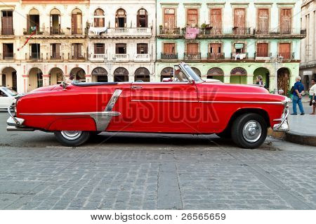 HAVANA - NOV 16: An American classic car is shown November 16, 2010 in Havana. Cubans, unable to buy newer models, keep thousands of them running despite the fact that parts have not been produced for decades.
