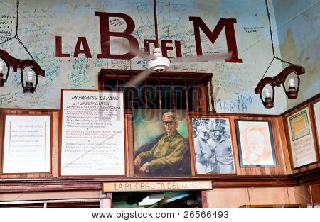 HAVANA-JANUARY 30: La Bodeguita del Medio January 30,2011 in Havana.The birthplace of mojito, this is a main tourist attraction and has been a favourite of celebrities like Ernest Hemingway and others