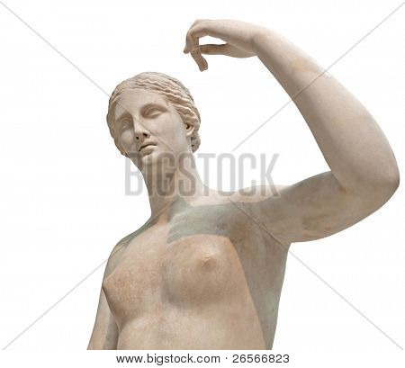 Ancient greek marble statue of Aphrodite or Venus isolated on a white background  with clipping path