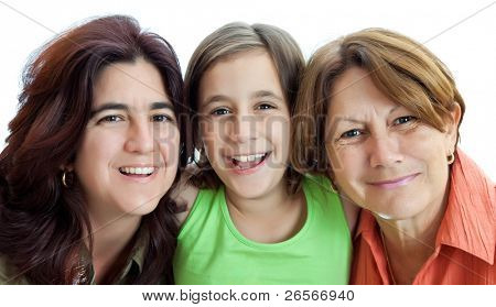 Three generations of latin women isolated on a white background
