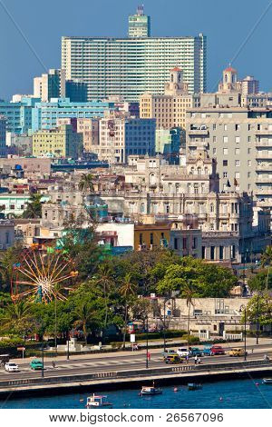 A view of Havana from the bay and the old buildings surrounding it to the modern buildings in the newer parts of the city