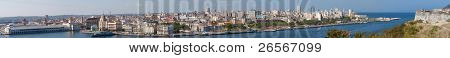 34 Megapixels highly detailed panorama of Havana from the entrance of the bay to the tourism cruisers docks including most of the significant buildings of the city and all the historical neighbourhood