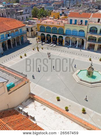 Aerial view of Plaza Vieja and its surrounding buildings in Old Havana