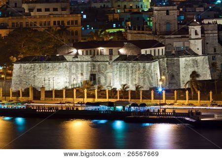 The fortress of La Fuerza in Old Havana illuminated at night