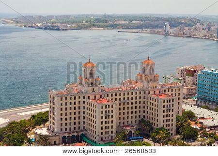 Aerial view of the Havana shore from El Vedado to the bay entrance