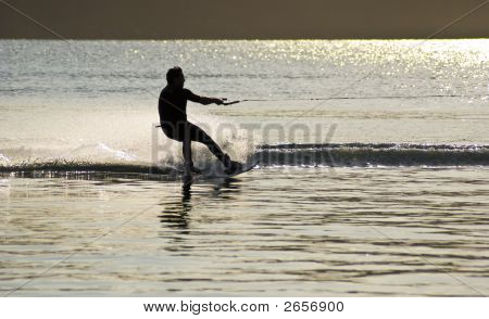Sunset Waterskier Dazzling Light