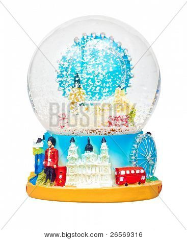 London snow globe with famous icons of the city isolated on white with clipping path