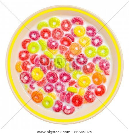 Bowl of colorful children's cereal and milk isolated on white with clipping path