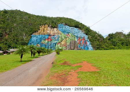 The Mural of Prehistory in the cuban Vinales valley