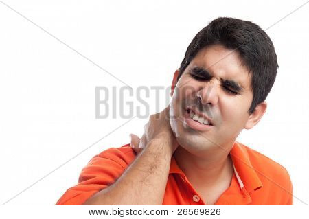 Young hispanic man suffering cervical pain isolated on white