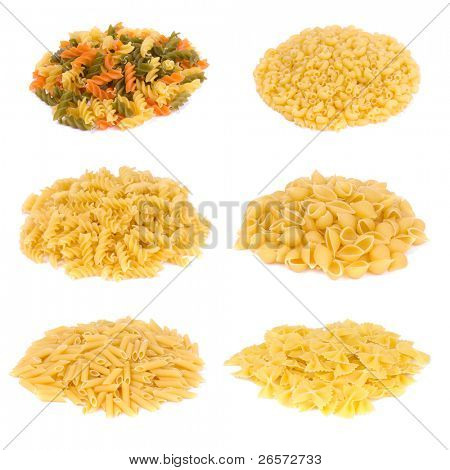 Different italian pasta over white. Italian food background.