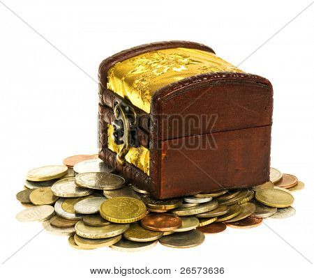 Wooden treasure  chest of money, isolated over white background