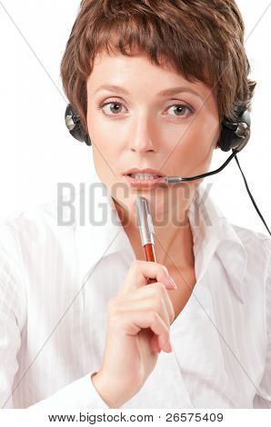 Portrait of a friendly woman with headset on white background
